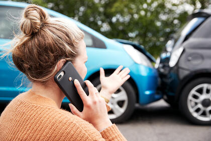 Female Involved In Car Accident Calling lawyer